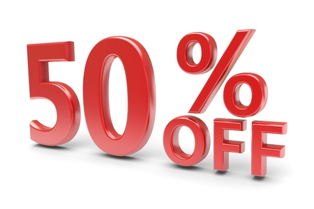 selling off: 50 percent sale discount  3d image
