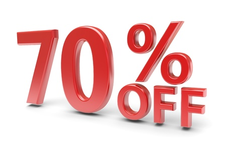 selling off: 70 percent sale discount  3d image