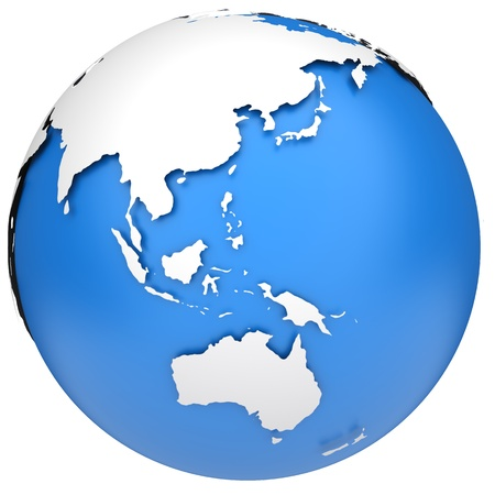 asia pacific map: Earth globe 3d model  Side of Asia, Australia and Indonesia
