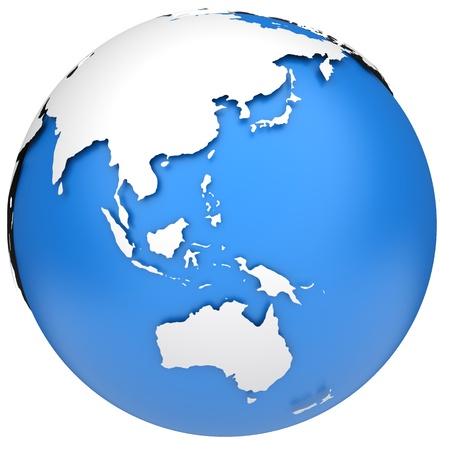Earth-Globus 3D-Modell Side von Asien, Australien und Indonesien Standard-Bild - 13429091