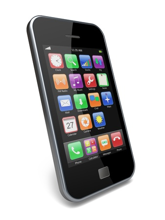 Mobile smartphone with touchscreen and colorful apps   3d image