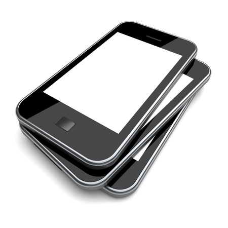 tactile: Smartphones with a blank screen on a white background  3d image