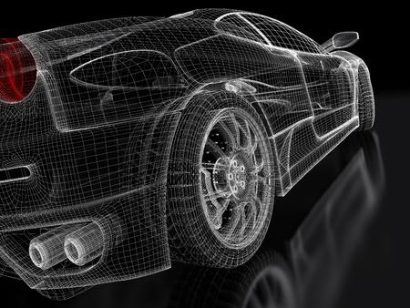 ruedas de coche: 3d modelo de coche deportivo en un fondo negro Foto de archivo