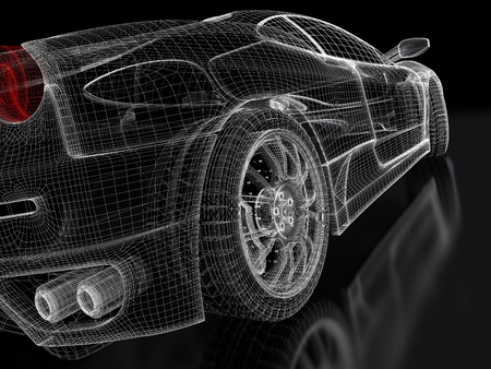 wire mesh: 3d sports car model on a black background