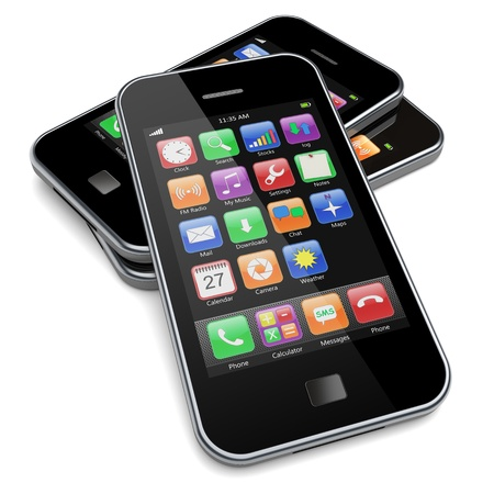Mobile phones with touchscreen and colorful apps   3d image