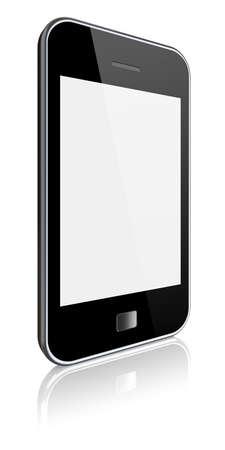 Mobile phone with a blank screen on a white background  3d image  photo