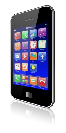 Mobile phone with blue touchscreen and colorful apps   3d image  photo