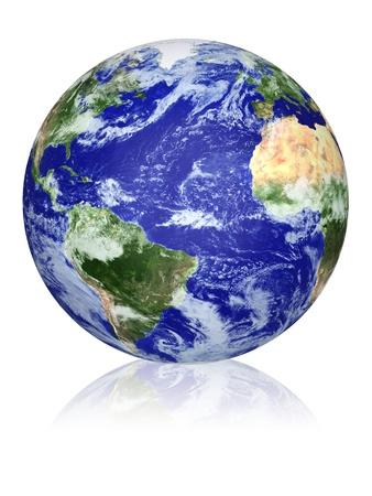 atlantic ocean: Earth globe cloud map  Side of the Atlantic Ocean