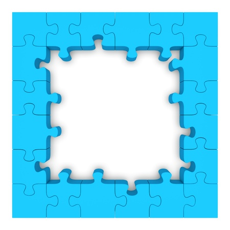 Frame made up of pieces of blue jigsaw puzzle  3d rendered image