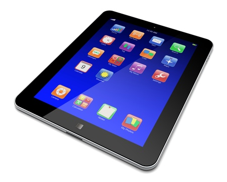 Abstract tablet PC with blue touchscreen and colorful apps   3d image Stock Photo - 13667065