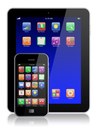 Mobile smartphone and tablet PC with touchscreen and colorful apps   Isolated on a white  3d image