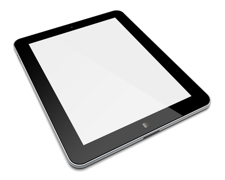Abstract tablet PC with blank screen  Isolated on a white  3d image  photo