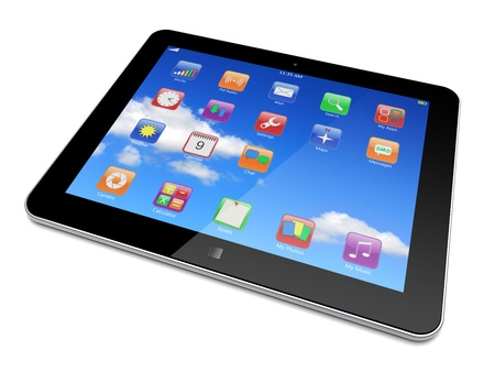 Tablet PC computer with blue sky background on the touchscreen and colorful apps   3d image