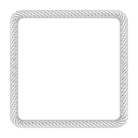 rope border: Square frame made up of white rope  3d image Stock Photo