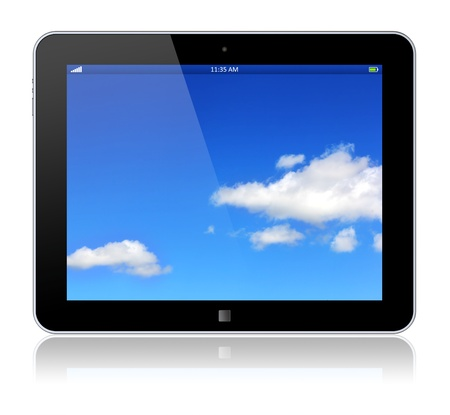 Tablet PC computer with blue sky background on the touchscreen  3d image  photo
