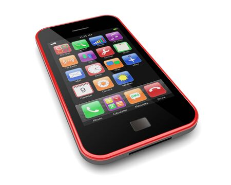 Red mobile cellphone with touchscreen and colorful apps   3d image  photo