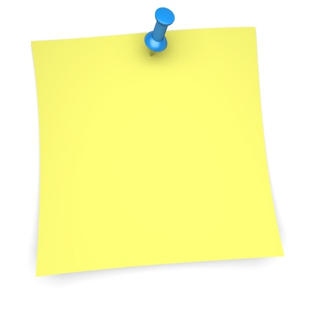 post it note: Yellow paper note with blue pushpin  3d image Stock Photo