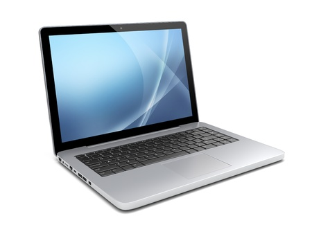 Laptop with a blue background on screen  Isolated on a white  3d image Stock Photo - 14071778