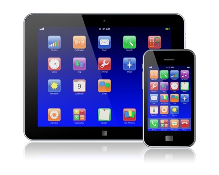 Tablet PC and mobile phone with blue touchscreen and colorful apps   Isolated on a white  3d image  photo
