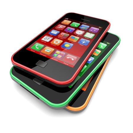 Smartphones with touchscreen and colorful apps   3d image  photo