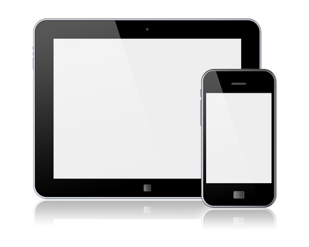 Tablet PC and mobile smartphone with blank screen  Isolated on a white  3d image
