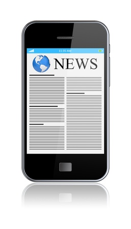 Mobile phone with news on a screen. Isolated on a white. 3d image  Stock Photo - 14266276
