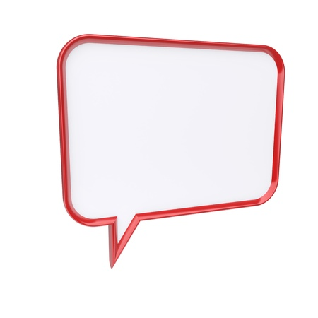 speech marks: Red speech bubble isolated. 3d rendered image