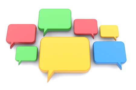 thinking bubble: Colorful speech bubbles on a white background. 3d image