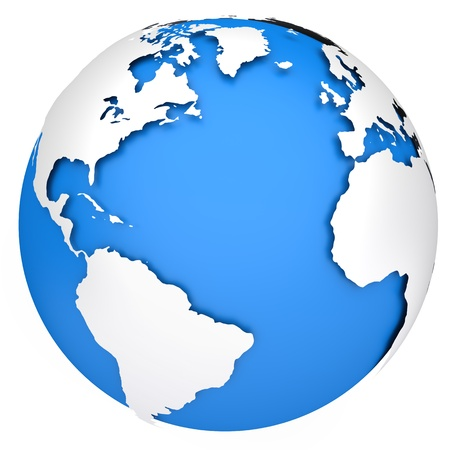 physical geography: Earth planet globe  Side of the Atlantic Ocean  3d rendered image