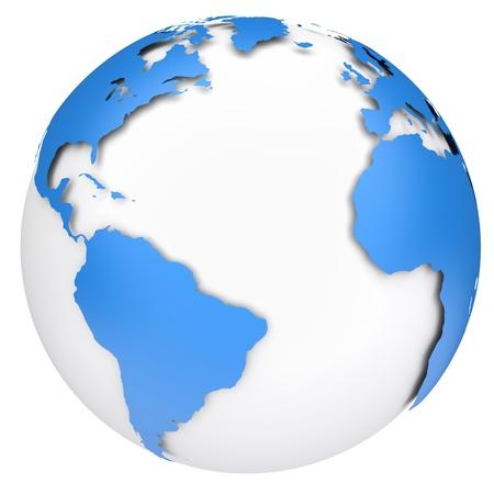 Earth planet globe  Side of the Atlantic Ocean  3d rendered image