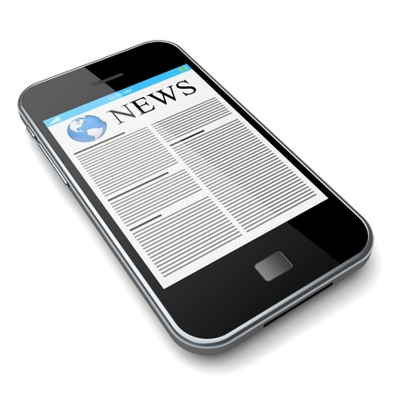 Mobile phone with news on a screen  Isolated on a white  3d image  Stock Photo - 14325445