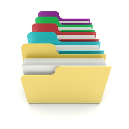 Colorful data folders on a white background  3d image photo