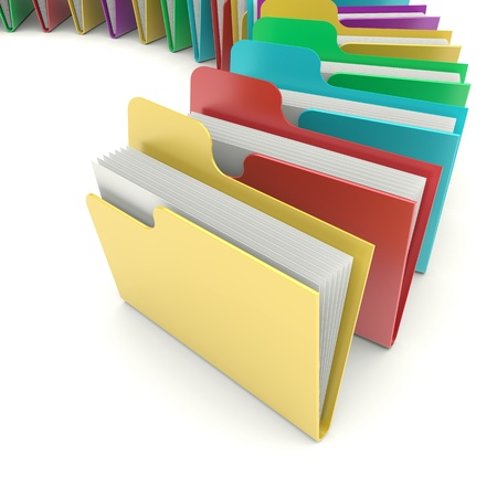 filing: Data file folders on a white background  3d image Stock Photo