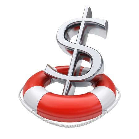 Dollar-Symbol in Rettungsring Business-Konzept 3D-Bild Standard-Bild - 14382471