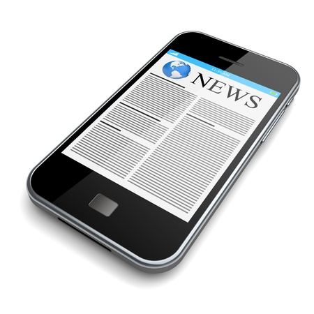 Mobile smartphone with news on a touchscreen  Isolated on a white  3d image