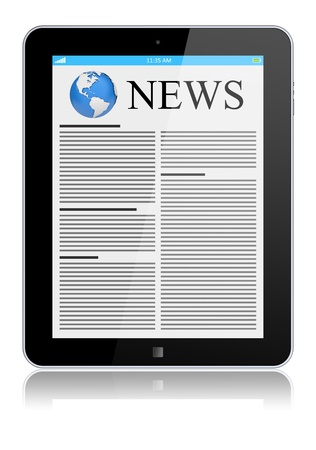 Tablet PC with news on a screen  Isolated on a white  3d image Stock Photo - 14479781