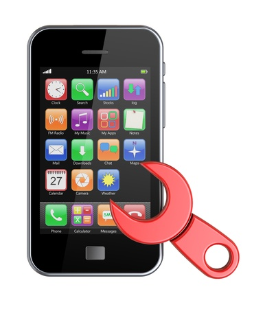 Mobile phone repairing with a red wrench  3d image photo