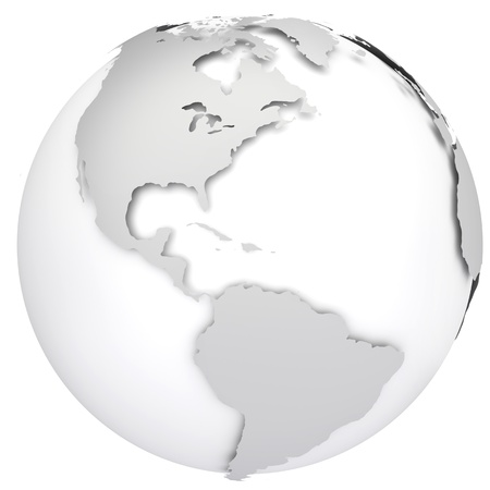 earth globe: Earth globe map  Side of the North and South America  3d image Stock Photo