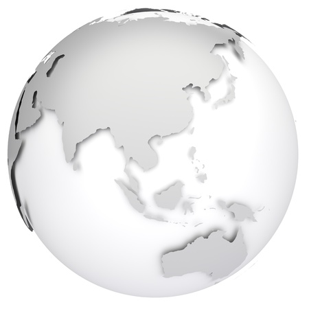 asia map: Earth globe 3d model  Side of Asia, Australia and Indonesia  Stock Photo