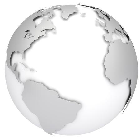 atlantic ocean: Earth planet globe  Side of the Atlantic Ocean  3d rendered image