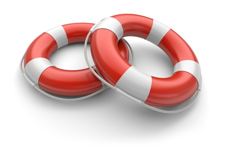 ring buoy: lifebelt on a white background. 3d image Stock Photo