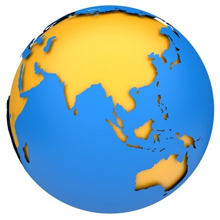 yellow earth: Earth globe 3d model  Side of Asia, Australia and Indonesia  Stock Photo
