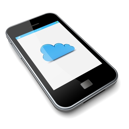 Smartphone with cloud computing symbol on a screen  3d image  Фото со стока