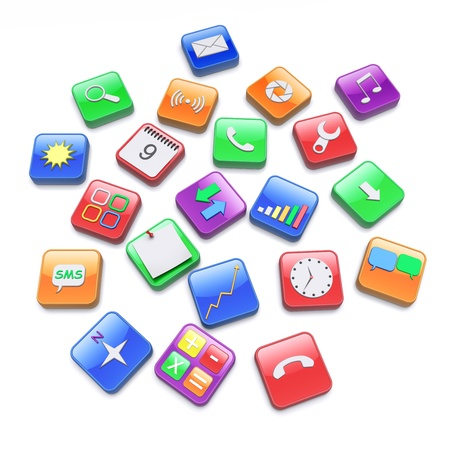 application software: Software apps icons  3d rendered image