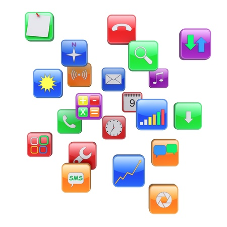 Software apps icons. 3d rendered image photo