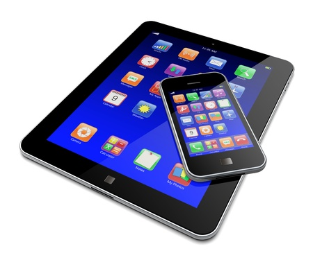 mobile advertising: Tablet PC and mobile smartphone with blue touchscreen and colorful apps   Isolated on a white  3d image  Stock Photo