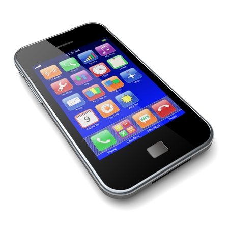 Mobile smartphone with blue screen and colorful apps  3d image photo