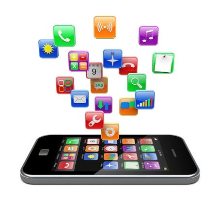 telecommunication equipment: Mobile phone with software apps icons   3d image