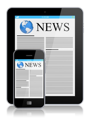 Tablet PC and mobile phone with news on a screen  Technology concept  3d image Stock Photo - 15604884