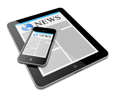 Tablet PC and mobile smartphone with news on a screen  Isolated on a white  3d image
